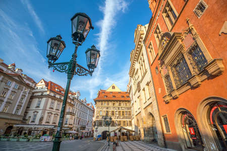 PRAGUE, CZECH REPUBLIC - AUGUST 19, 2018: Heritage buildings in Old Town of Prague in Czech Republic.
