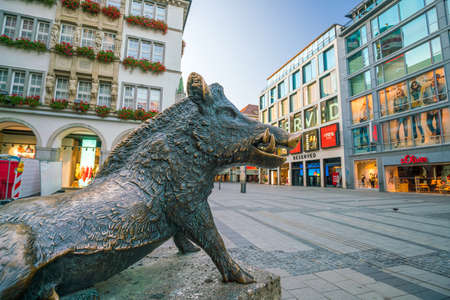 MUNICH, GERMANY - AUGUST 12, 2018: Monument of wild boar outside Hunting and Fishing Museum in Munich, Germany Editorial