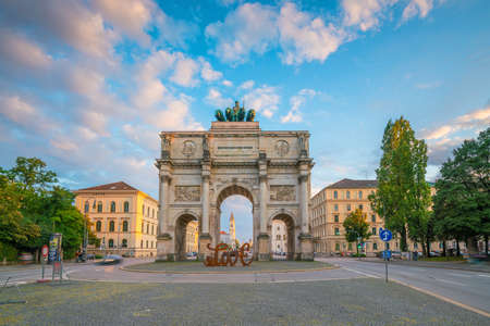 Munich, Germany - August 11, 2018: Siegestor (Victory Gate) triumphal arch in Munich, Germany