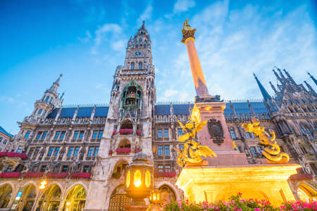 Munich skyline with  Marienplatz town hall in Germany Editorial