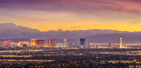 Panorama cityscape view of Las Vegas at sunset in Nevada, United States of America Фото со стока
