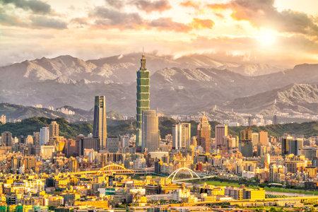 Paysage de ville de Taipei au moment du coucher du soleil à Taiwan