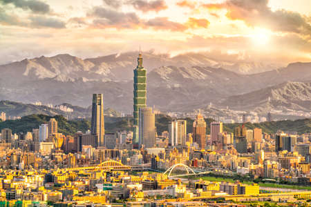Taipei city skyline landscape at sunset time in Taiwan