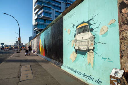 BERLIN, GERMANY : APRIL 19, 2019 : Art gallery of Berlin Wall at East side of Berlin, Germany