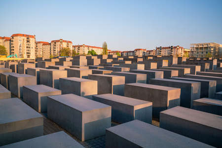 BERLIN, GERMANY - APRIL 19, 2019: Visitors at the Memorial to the Murdered Jews of Europe, also known as Holocaust Memorial, in Berlin, Germany Editorial