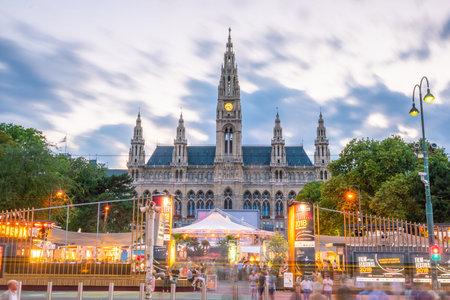 Wiedeń, Austria - 16 sierpnia: Old Vienna City Hall buildig w centrum Wiednia, Austria 16 sierpnia 2018 r.