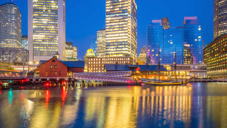 Boston Harbor and Financial District at twilight, Massachusetts in USA Фото со стока
