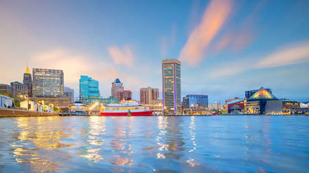 View of Inner Harbor area in downtown Baltimore Maryland USA at sunset