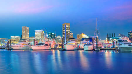 View of Inner Harbor area in downtown Baltimore Maryland USA at sunset Stock Photo