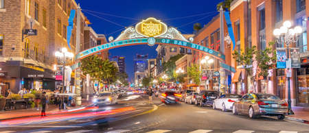 SAN DIEGO, CA, USA OCTOBER 21, 2019 : The Gaslamp Quarter in San Diego, California USA. it extends from Broadway to Harbor Drive, and 4th to 6th Avenue Editorial