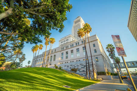 Historic Los Angeles City Hall with blue sky in CA USA