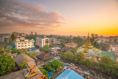 Yangon skyline in Myanmar with beautiful sunset