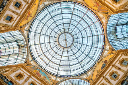 Milan, Italy - June 11, 2017: Interior of Galleria Vittorio Emanuele II is one of the most popular shopping areas in Milan. Publikacyjne