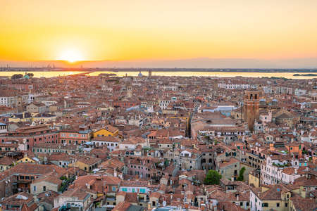 Cityscape of Venice skyline from top view in Italy at sunset Stock Photo