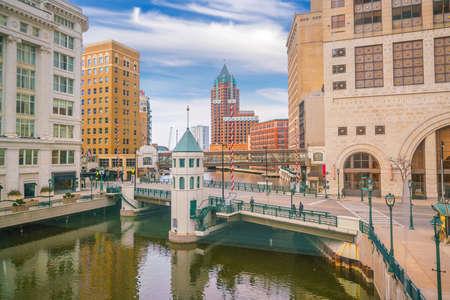 Milwaukee city downtown skyline cityscape of USA