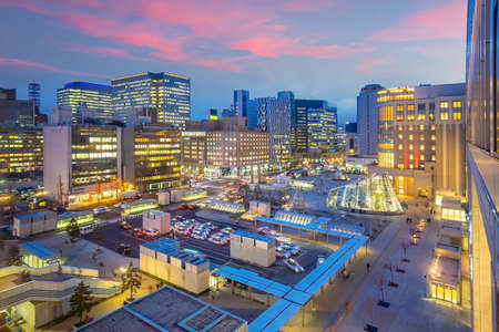 Sapporo city downtown skyline cityscape of Hokkaido Japan at sunset