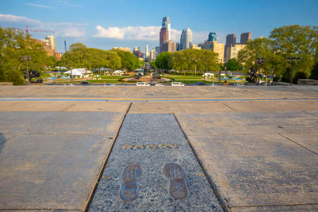 PHILADELPHIA, USA - MAY 7, 2015: Rocky Steps monument in downtown Philadelphia USA. The monument commemorates acclaimed movie Rocky