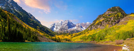 Landscape photo of Maroon bell in Colorado USA autumn season