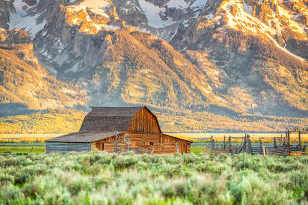 The abandoned barn in the Mormon Row, Wyoming with Grand Tetons view. It is on the National Registrer of Historic places.