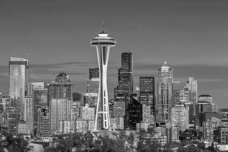 Seattle city downtown skyline cityscape in Washington State, USA Banco de Imagens