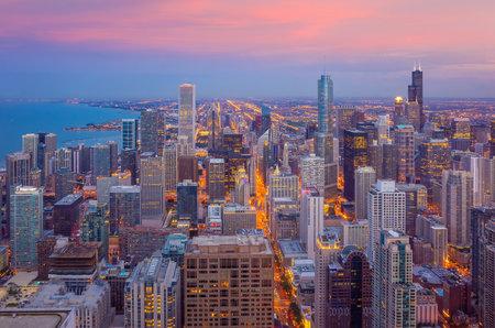 Downtown chicago skyline at sunset Illinois, USA