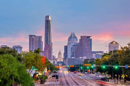 Austin city downtown skyline cityscape of Texas USA at sunset