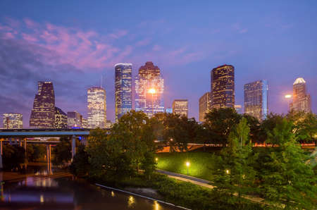 Houston city downtown skyline cityscape of Texas USA at sunset Imagens