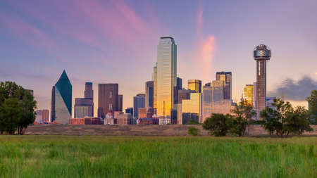 Dallas city downtown skyline cityscape of Texas USA at sunset
