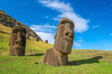 The ancient moai on Easter Island 2,000 miles off the coast of Chile