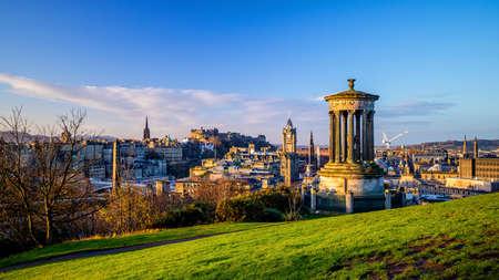 Old town Edinburgh city skyline. Cityscape in Scotland