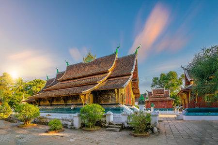 Wat Chiang Tong, Luang Prabang in Laos at sunset 写真素材
