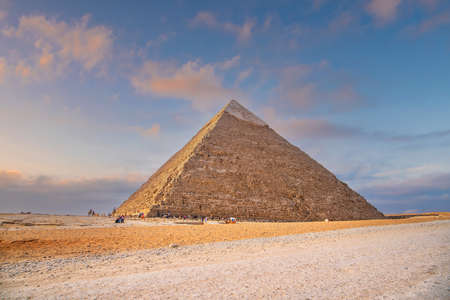 Landscape view of the Pyramids of Giza and the Great Sphinx in Cairo, Egypt