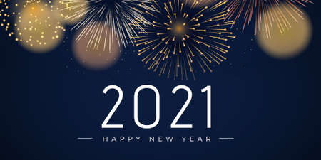 2021 Happy new year greeting banner. Happy New Year 2021 New Year Shining background