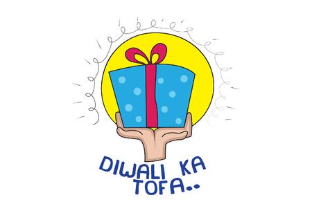 Vector Cartoon Illustration Of Diwali Gift In Hand.