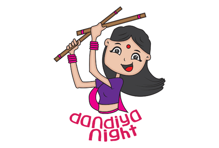 illustration of woman with dandiya sticks Illustration