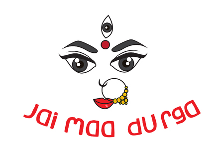 Vector Cartoon Illustration Of Maa Durga Face Expression -Mythological Hindu goddess.