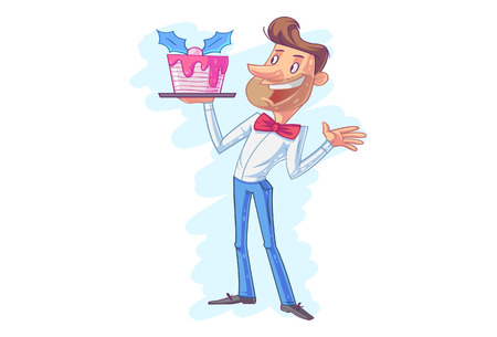 Vector cartoon illustration of a man holding a tray .