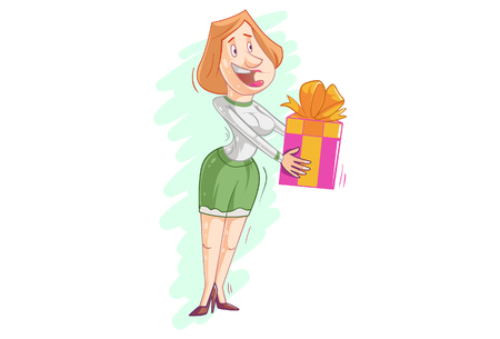 Vector cartoon illustration of a women giving gift box. Çizim