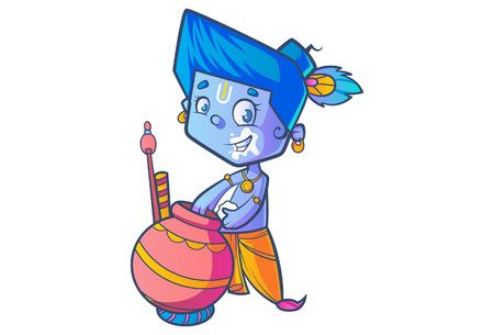 Illustration of Little Lord Krishna Eating Butter From Pot .
