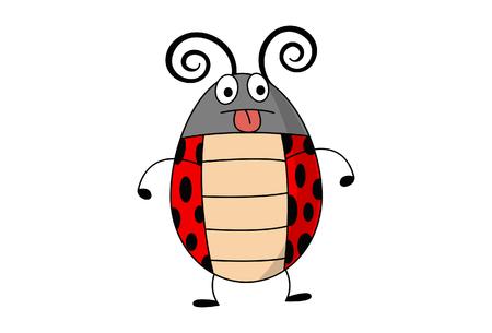 Funny ladybug character illustration. Illustration