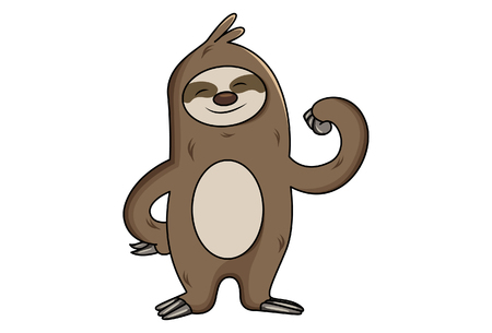 Vector cartoon illustration of sloth show his arm muscles.