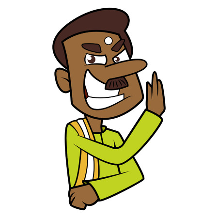 Vector illustration of south Indian man ready for karate.