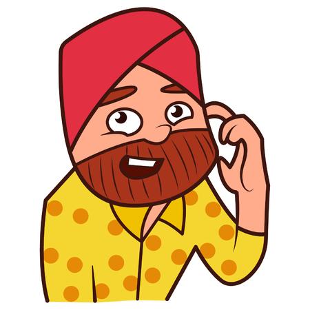 Vector illustration of a confused Punjabi sardar man.