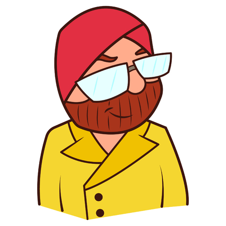 Punjabi sardar with glasses illustration. Illustration