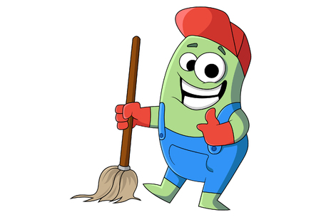 Vector cartoon cleaning man with mop. Illustration