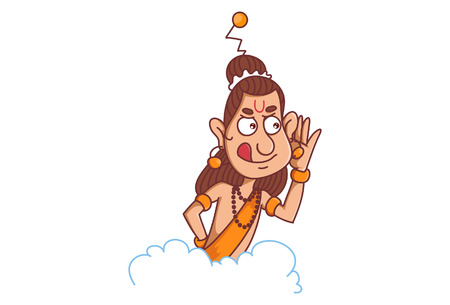 Vector cartoon illustration of narad muni secretly listening people on cloud .