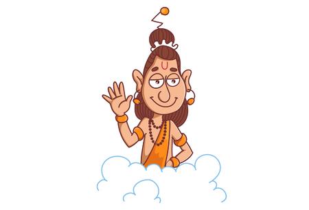 Cartoon of narad muni giving blessing on cloud. Ilustração