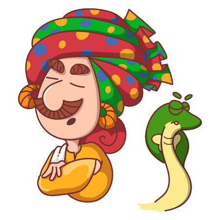 Vector cartoon illustration of snake charmer and snake with closed eyes. Isolated on white background. Illustration
