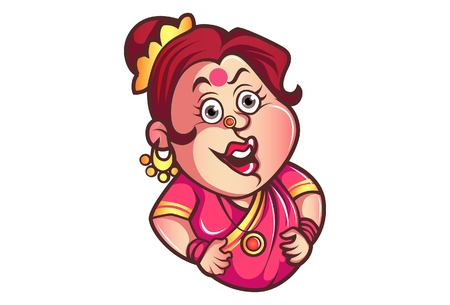 Vector cartoon illustration of funny iyer aunty ji face expression. Isolated on white background.