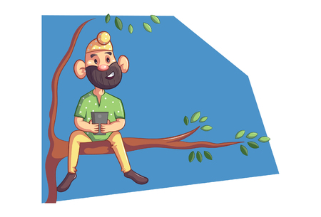 Vector cartoon illustration of Punjabi sardar sitting on tree branch with phone. isolated on white background.